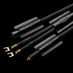 Here you see the complete line of Anchrowave cables, including (from the top) balanced XLR, loudspeaker cable, and unbalanced RCA versions.