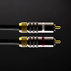 The RCA unbalanced signal cable features gold plated connectors with a barrel locking mechanism for the ground clamping contact.